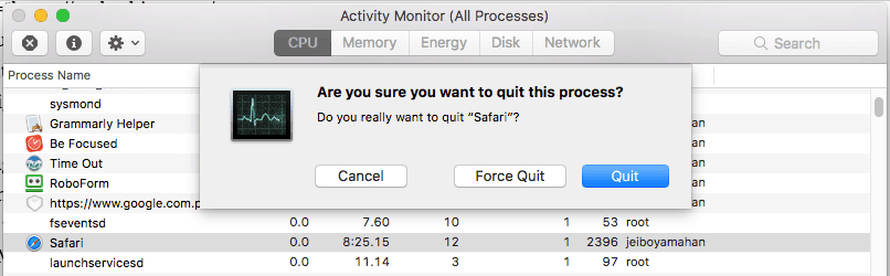 Force Quit an App using Activity Monitor