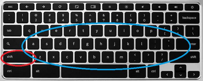 Caps Lock on Chromebook method 2